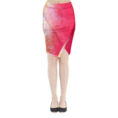 Abstract Red And Gold Ink Blot Gradient Midi Wrap Pencil Skirt by Amaryn4rt