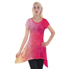 Abstract Red And Gold Ink Blot Gradient Short Sleeve Side Drop Tunic by Amaryn4rt