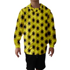 Yellow Fractal In Kaleidoscope Hooded Wind Breaker (kids) by Amaryn4rt