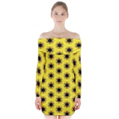 Yellow Fractal In Kaleidoscope Long Sleeve Off Shoulder Dress