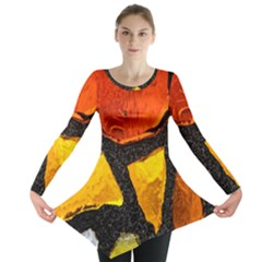 Colorful Glass Mosaic Art And Abstract Wall Background Long Sleeve Tunic  by Amaryn4rt