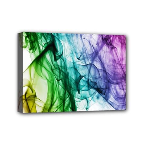 Colour Smoke Rainbow Color Design Mini Canvas 7  x 5