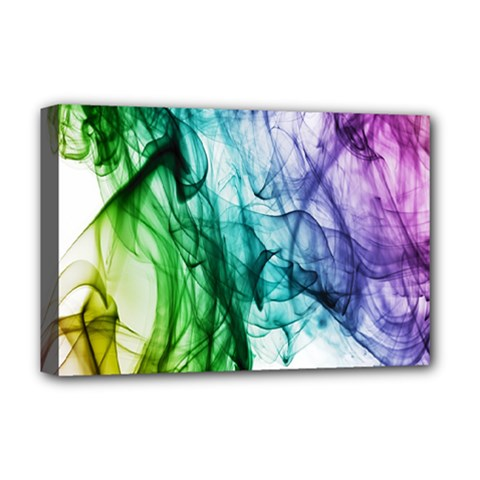 Colour Smoke Rainbow Color Design Deluxe Canvas 18  X 12   by Amaryn4rt