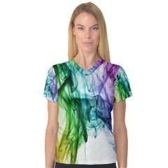 Colour Smoke Rainbow Color Design Women s V-Neck Sport Mesh Tee