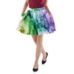 Colour Smoke Rainbow Color Design A-Line Pocket Skirt