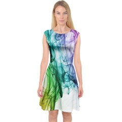 Colour Smoke Rainbow Color Design Capsleeve Midi Dress