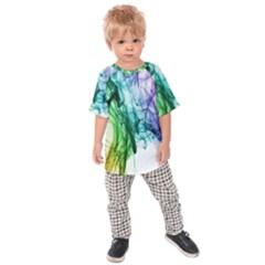 Colour Smoke Rainbow Color Design Kids  Raglan Tee