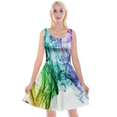 Colour Smoke Rainbow Color Design Reversible Velvet Sleeveless Dress