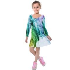 Colour Smoke Rainbow Color Design Kids  Long Sleeve Velvet Dress