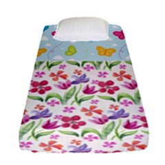 Watercolor Flowers And Butterflies Pattern Fitted Sheet (single Size) by TastefulDesigns