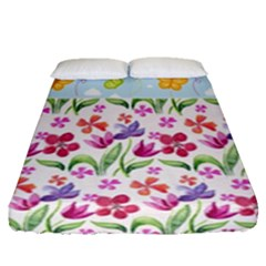 Watercolor Flowers And Butterflies Pattern Fitted Sheet (queen Size) by TastefulDesigns