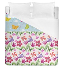 Watercolor Flowers And Butterflies Pattern Duvet Cover (queen Size) by TastefulDesigns