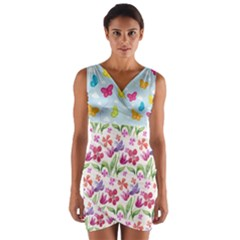 Watercolor Flowers And Butterflies Pattern Wrap Front Bodycon Dress by TastefulDesigns