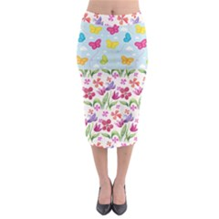 Watercolor Flowers And Butterflies Pattern Midi Pencil Skirt by TastefulDesigns