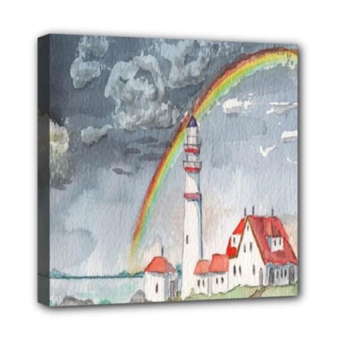 Watercolour Lighthouse Rainbow Mini Canvas 8  X 8  by Amaryn4rt