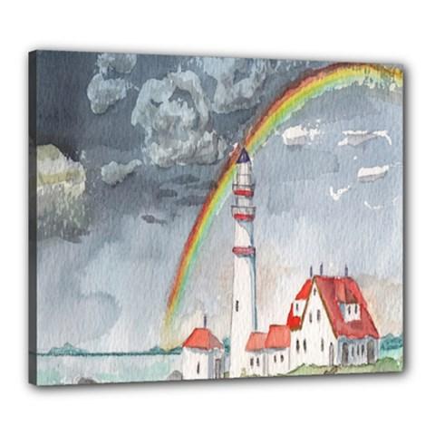 Watercolour Lighthouse Rainbow Canvas 24  X 20  by Amaryn4rt