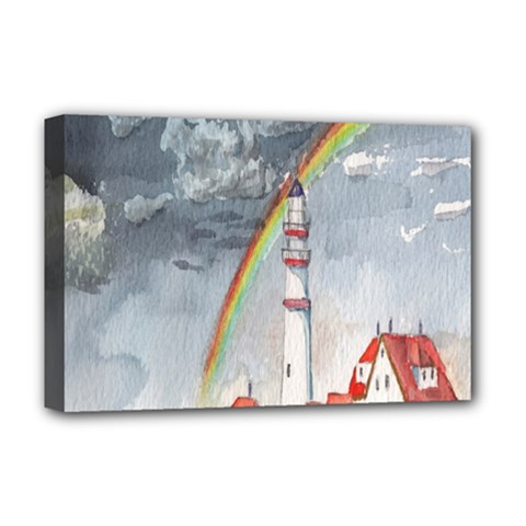 Watercolour Lighthouse Rainbow Deluxe Canvas 18  X 12   by Amaryn4rt