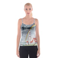 Watercolour Lighthouse Rainbow Spaghetti Strap Top by Amaryn4rt