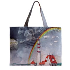 Watercolour Lighthouse Rainbow Zipper Mini Tote Bag by Amaryn4rt