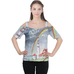 Watercolour Lighthouse Rainbow Women s Cutout Shoulder Tee