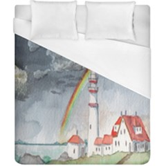 Watercolour Lighthouse Rainbow Duvet Cover (california King Size) by Amaryn4rt