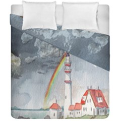 Watercolour Lighthouse Rainbow Duvet Cover Double Side (california King Size) by Amaryn4rt