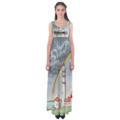 Watercolour Lighthouse Rainbow Empire Waist Maxi Dress by Amaryn4rt