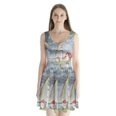 Watercolour Lighthouse Rainbow Split Back Mini Dress