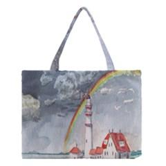 Watercolour Lighthouse Rainbow Medium Tote Bag by Amaryn4rt