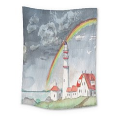 Watercolour Lighthouse Rainbow Medium Tapestry by Amaryn4rt