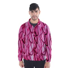 An Unusual Background Photo Of Black Swirls On Pink And Magenta Wind Breaker (men) by Amaryn4rt