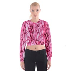An Unusual Background Photo Of Black Swirls On Pink And Magenta Women s Cropped Sweatshirt by Amaryn4rt