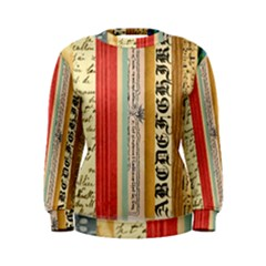 Digitally Created Collage Pattern Made Up Of Patterned Stripes Women s Sweatshirt