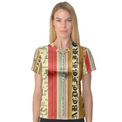 Digitally Created Collage Pattern Made Up Of Patterned Stripes Women s V Neck Sport Mesh Tee by Amaryn4rt
