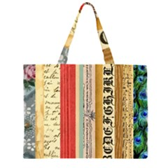 Digitally Created Collage Pattern Made Up Of Patterned Stripes Zipper Large Tote Bag by Amaryn4rt