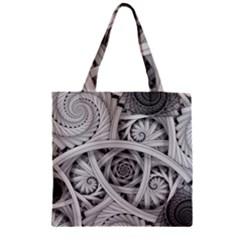 Fractal Wallpaper Black N White Chaos Zipper Grocery Tote Bag by Amaryn4rt