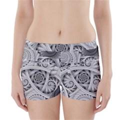 Fractal Wallpaper Black N White Chaos Boyleg Bikini Wrap Bottoms