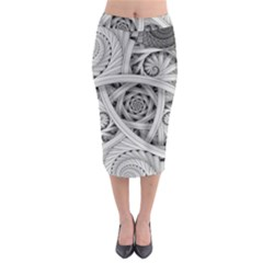 Fractal Wallpaper Black N White Chaos Midi Pencil Skirt by Amaryn4rt