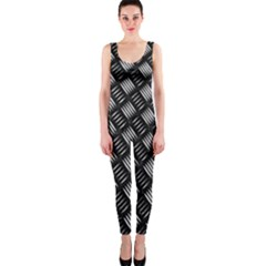 Abstract Of Metal Plate With Lines OnePiece Catsuit