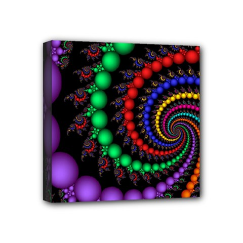 Fractal Background With High Quality Spiral Of Balls On Black Mini Canvas 4  X 4  by Amaryn4rt