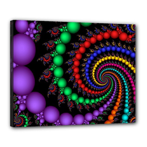 Fractal Background With High Quality Spiral Of Balls On Black Canvas 20  X 16  by Amaryn4rt