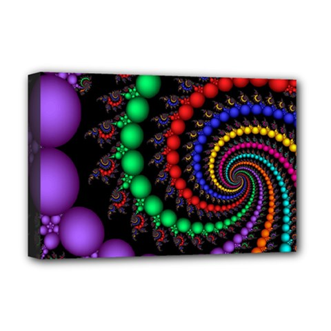 Fractal Background With High Quality Spiral Of Balls On Black Deluxe Canvas 18  X 12   by Amaryn4rt