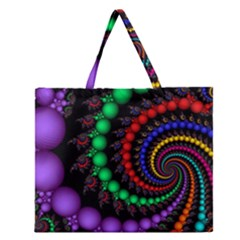 Fractal Background With High Quality Spiral Of Balls On Black Zipper Large Tote Bag by Amaryn4rt