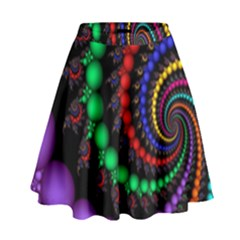 Fractal Background With High Quality Spiral Of Balls On Black High Waist Skirt by Amaryn4rt