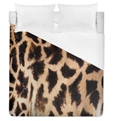 Yellow And Brown Spots On Giraffe Skin Texture Duvet Cover (queen Size) by Amaryn4rt