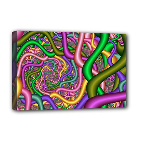 Fractal Background With Tangled Color Hoses Deluxe Canvas 18  X 12   by Amaryn4rt
