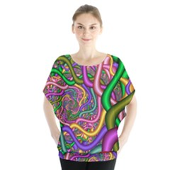 Fractal Background With Tangled Color Hoses Blouse by Amaryn4rt