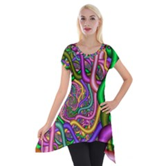 Fractal Background With Tangled Color Hoses Short Sleeve Side Drop Tunic by Amaryn4rt