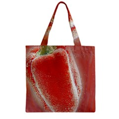 Red Pepper And Bubbles Zipper Grocery Tote Bag by Amaryn4rt