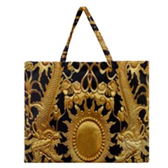 Golden Sun Zipper Large Tote Bag by Amaryn4rt